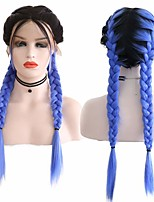 cheap -Synthetic Lace Front Wig Box Braids Middle Part with Baby Hair Lace Front Wig Ombre Long Ombre Blue Synthetic Hair 18-26 inch Women's Soft Adjustable Party Blue Ombre