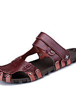 cheap -Men's Summer Casual Daily Sandals Walking Shoes Cowhide Breathable Black / Burgundy / Brown