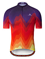 cheap -Miloto Men's Short Sleeve Cycling Jersey Red+Blue Bike Jersey Top Mountain Bike MTB Road Bike Cycling Breathable Quick Dry Sports Clothing Apparel / Stretchy