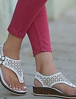cheap -Women's Sandals Wedge Sandals Summer Wedge Heel Open Toe Daily PU White / Black / Blue
