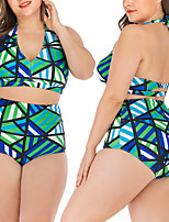 cheap -Women's Two Piece Swimsuit Swimwear Bodysuit Breathable Quick Dry Sleeveless Swimming Water Sports 3D Print Summer / Stretchy