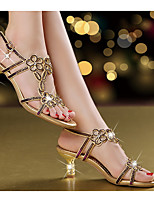 cheap -Women's Sandals Leather Sandals Summer Stiletto Heel Open Toe Daily Leather Purple / Gold / Blue