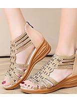 cheap -Women's Sandals Wedge Sandals Summer Wedge Heel Round Toe Daily PU Black / Gold