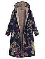 cheap -Women's Winter Parka Floral Long Polyester Fuchsia / Orange / Navy Blue S / M / L