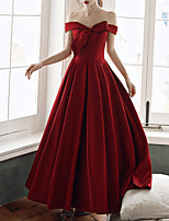 cheap -A-Line Minimalist Red Engagement Formal Evening Dress Off Shoulder Short Sleeve Floor Length Satin with Bow(s) 2020