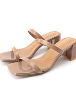 cheap -Women's Sandals Summer Block Heel Open Toe Daily Outdoor PU Khaki