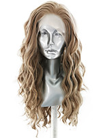 cheap -Synthetic Lace Front Wig Wavy Body Wave Free Part Lace Front Wig Long Flaxen Synthetic Hair 18-26 inch Women's Soft Elastic Women Brown / Glueless