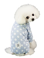 cheap -Dog Jumpsuit Pajamas Pants Dog Clothes Pink Blue Costume Husky Labrador Alaskan Malamute Cotton Flower Casual / Daily S M L XL XXL
