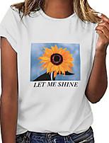 cheap -Women's Geometric Letter Sun Flower T-shirt Daily Weekend White / Black / Gray