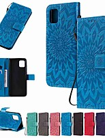 cheap -Case For Samsung Galaxy S20 Plus / S20 Ultra / S20 Wallet / Card Holder / with Stand Sun Flower PU Leather / TPU for Galaxy A01 / Galaxy A21 / Galaxy A51 / Galaxy A71 / A91 / A81/ A70E / A41 / A11