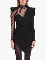 cheap -Sheath / Column Little Black Dress Cut Out Party Wear Cocktail Party Dress High Neck Long Sleeve Asymmetrical Nylon with Pleats 2020