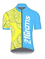 Недорогие -21Grams Муж. С короткими рукавами Велокофты Полиэстер Голубой + Желтый Пэчворк Фрукты Лимонный Велоспорт Джерси Верхняя часть Горные велосипеды Шоссейные велосипеды / Слабоэластичная / Дышащий