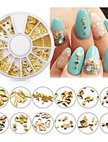 cheap -1 Wheel Mixed 3d Nail Art Studs Gold Charms Summer Sea Metal Alloy Rivets Shell Hollow Heart Decoration Nails