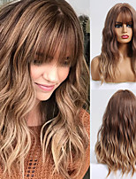 cheap -Synthetic Wig Wavy Matte Neat Bang Wig Long Light Brown Synthetic Hair 20 inch Women's Color Gradient Highlighted / Balayage Hair Light Brown