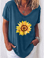 cheap -Women's Geometric Daisy T-shirt Daily V Neck Blue / Green / Gray / Light Blue