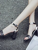 cheap -Women's Sandals Summer Chunky Heel Open Toe Daily PU Black / Gray / Silver