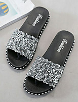 cheap -Women's Sandals Flat Sandal Summer Flat Heel Open Toe Daily PU Black / Silver