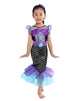 cheap -The Little Mermaid Dress Flower Girl Dress Girls' Movie Cosplay A-Line Slip Purple Dress Children's Day Masquerade Satin / Tulle Sequin