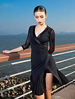 cheap -Latin Dance Dress Split Ruching Split Joint Women's Performance Half Sleeve Ice Silk