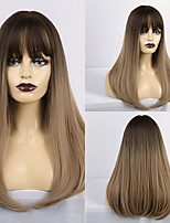 cheap -Synthetic Wig Matte kinky Straight Middle Part Neat Bang Wig Long Light Brown Synthetic Hair 20 inch Women's Simple Color Gradient Natural Hairline Light Brown