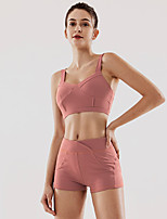 cheap -Women's 2pcs Tracksuit Yoga Suit Solid Color Yellow Fuchsia Green Running Fitness Gym Workout High Waist Shorts Bra Top Sport Activewear Breathable Tummy Control Butt Lift Moisture Wicking Stretchy
