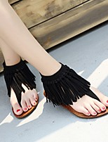cheap -Women's Sandals Flat Sandal Summer Flat Heel Open Toe Daily PU Black / Khaki