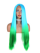 cheap -Synthetic Lace Front Wig Straight Yaki Straight Middle Part Free Part Glueless Lace Front Lace Front Wig Long Medium Length Lake Green / Grass Green Synthetic Hair 24-26 inch Women's Designs New