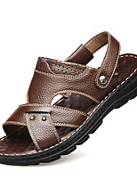 cheap -Men's Summer Classic / Casual Daily Office & Career Sandals Faux Leather Non-slipping Wear Proof Black / Brown