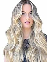 Недорогие -Парики из искусственных волос Матовое стекло Естественные кудри Средняя часть Парик Длинные Светло-золотой Искусственные волосы 26 дюймовый Жен. Прямой пробор вьющийся пушистый Блондинка