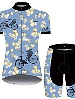 Недорогие -21Grams Жен. С короткими рукавами Велокофты и велошорты Синий Цветочные ботанический Велоспорт Дышащий Быстровысыхающий Виды спорта С узором Горные велосипеды Шоссейные велосипеды Одежда