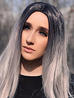cheap -Synthetic Lace Front Wig Straight Gaga Middle Part Lace Front Wig Long Ombre Grey Synthetic Hair 22-26 inch Women's Heat Resistant Women Hot Sale Ombre / Glueless