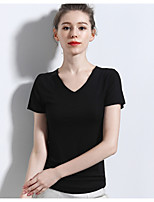 cheap -Women's Solid Colored Blouse Daily V Neck Wine / White / Black / Green / Navy Blue