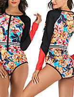 cheap -Women's One Piece Swimsuit Floral Padded Swimwear Swimwear Black UV Sun Protection Breathable Quick Dry Long Sleeve - Swimming Water Sports Summer / Stretchy