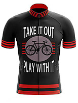 Недорогие -21Grams Муж. С короткими рукавами Велокофты Полиэстер Черный / красный В полоску Велоспорт Джерси Верхняя часть Горные велосипеды Шоссейные велосипеды Устойчивость к УФ Дышащий Быстровысыхающий