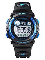 cheap -SKMEI Kids Digital Watch Digital Sporty PU Leather Black / Red / Purple 50 m Water Resistant / Waterproof Calendar / date / day Chronograph Digital Outdoor - White+Sky Blue Black Blue Two Years