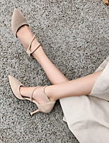 cheap -Women's Heels Summer Stiletto Heel Pointed Toe Sexy Daily Microfiber Black / Pink / Beige