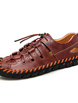 cheap -Men's Summer Classic Daily Outdoor Sneakers Walking Shoes Leather / Nappa Leather Breathable Wear Proof Light Brown / Dark Brown / Black