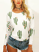 cheap -Women's Floral Print Loose T-shirt - Cotton Basic Daily White