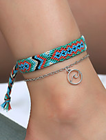 cheap -Anklet Elegant Trendy Ethnic Women's Body Jewelry For Date Birthday Party Alloy Wedding Friends Purple Green Blue 2-Piece