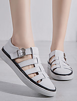 cheap -Women's Sandals Flat Sandal Spring & Summer / Fall & Winter Flat Heel Closed Toe Casual Minimalism Daily Home Cowhide Water Shoes / Walking Shoes White