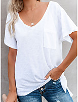 cheap -Women's Solid Colored T-shirt Daily V Neck White / Black / Red / Gray