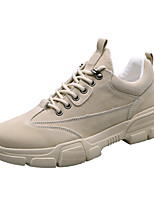 cheap -Men's Spring & Summer / Fall & Winter Casual Daily Outdoor Sneakers Walking Shoes Faux Leather / PU Breathable Waterproof Non-slipping Black / Khaki