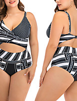 cheap -Women's Cut Out One Piece Swimsuit Striped Padded Swimwear Swimwear Black / White UV Sun Protection Breathable Quick Dry Sleeveless - Swimming Water Sports Summer / Elastane / Stretchy