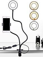 Недорогие -2 в 1 ленивый держатель телефона 3 режима светодиодной заливки свет длинные руки настольная кровать стенд регулируемый алюминиевый сплав крепление живое видео потоковое