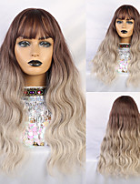 cheap -Synthetic Wig Human Hair Lace Wig Matte Water Wave Minaj Neat Bang Wig Medium Length Light Brown Synthetic Hair 26 inch Women's Cute Sexy Lady curling White Ombre