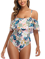 cheap -Women's One Piece Swimsuit Floral Padded Swimwear Bodysuit Swimwear Blushing Pink Blue Breathable Quick Dry Comfortable Sleeveless - Swimming Surfing Water Sports Summer / Stretchy