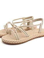 cheap -Women's Sandals Flat Sandal Summer Flat Heel Open Toe Sweet Daily Outdoor Suede Black / Pink / Beige
