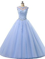 cheap -Ball Gown Elegant Sparkle Engagement Prom Dress Illusion Neck Sleeveless Floor Length Organza with Pleats Crystals Appliques 2020