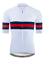 cheap -21Grams Men's Short Sleeve Cycling Jersey Polyester Red / White Stripes Bike Jersey Top Mountain Bike MTB Road Bike Cycling UV Resistant Breathable Quick Dry Sports Clothing Apparel / Stretchy