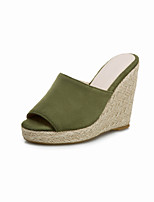 cheap -Women's Sandals Wedge Sandals 2020 Summer Wedge Heel Peep Toe Minimalism Daily Party & Evening Solid Colored Suede Black / Light Red / Green